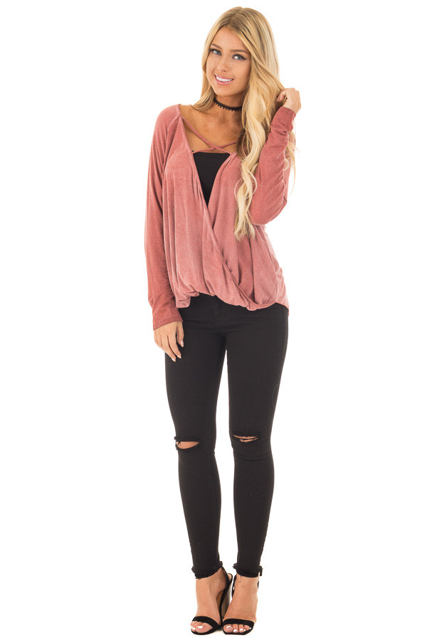 Brick Red Crossover Drape Long Sleeve Top with X Neckline front full body