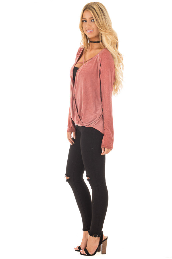 Brick Red Crossover Drape Long Sleeve Top with X Neckline side full body