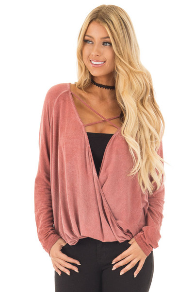 Brick Red Crossover Drape Long Sleeve Top with X Neckline front close up