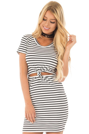 White Striped Ribbed Knit T Shirt Dress with Cut Out Details front close up