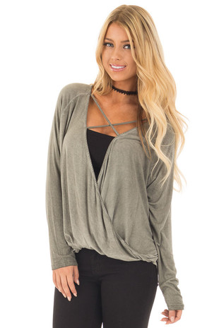 Olive Crossover Drape Long Sleeve Top with X Neckline front close up