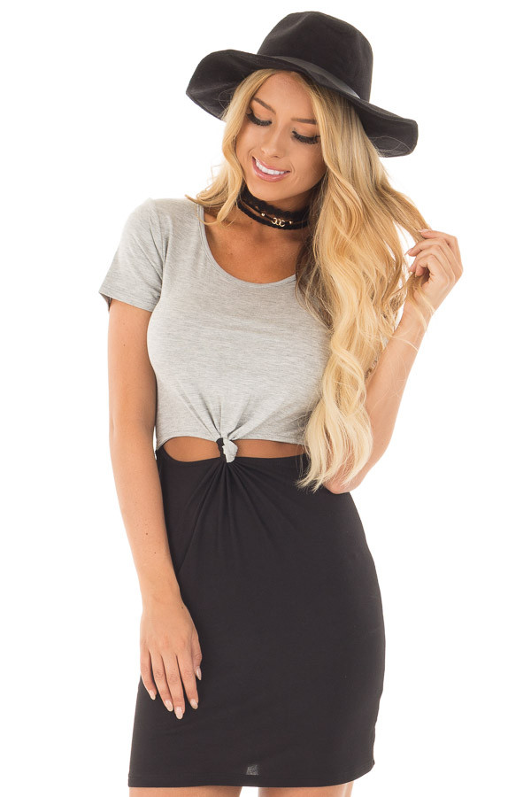 Grey and Black Color Block T Shirt Dress with Cut Out Detail front close up