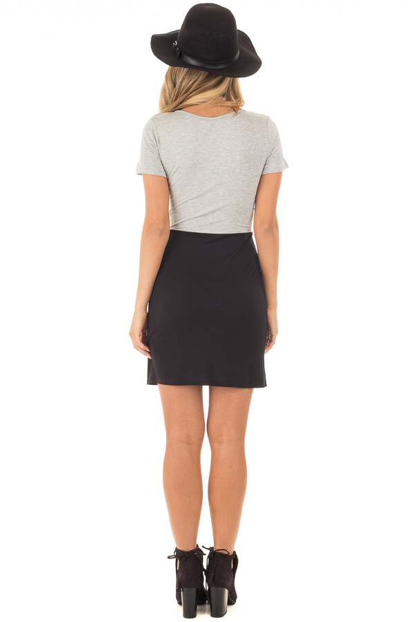 Grey and Black Color Block T Shirt Dress with Cut Out Detail back full body