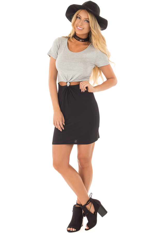 Grey and Black Color Block T Shirt Dress with Cut Out Detail front full body