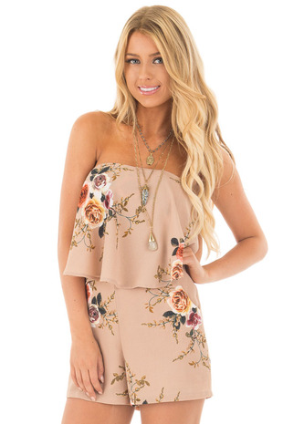 Taupe Floral Off Shoulder Romper with Side Pockets front close up