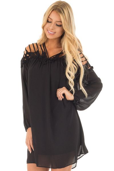 Black Chiffon Dress with Caged Neckline and Lace Detail front close up