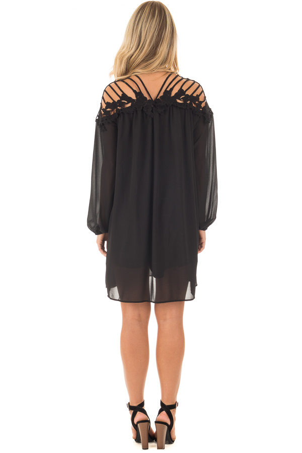 Black Chiffon Dress with Caged Neckline and Lace Detail back full body