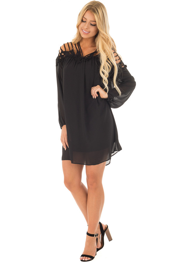 Black Chiffon Dress with Caged Neckline and Lace Detail front full body