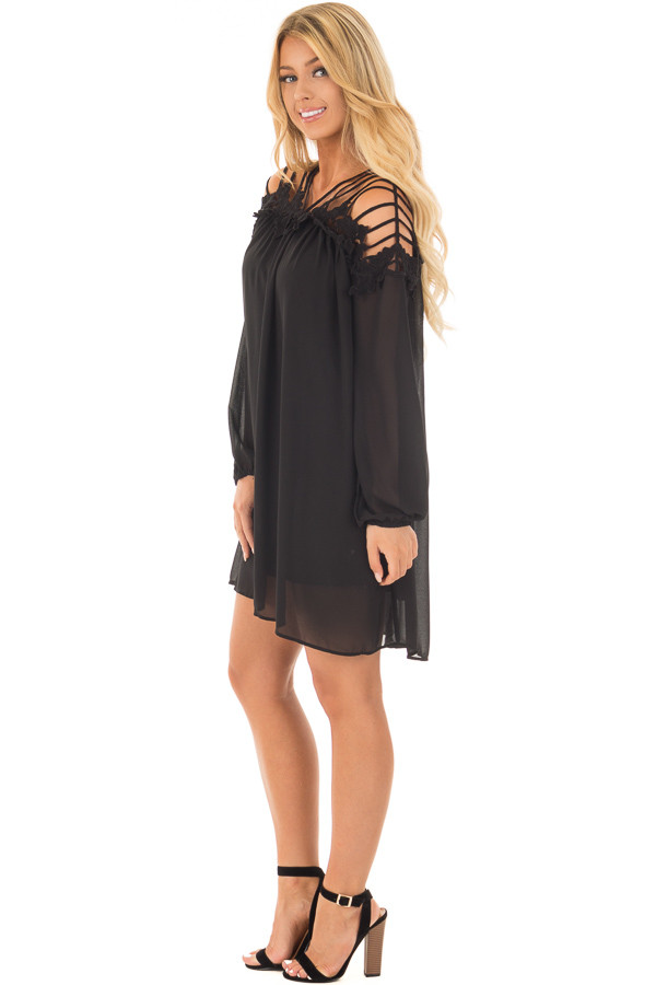 Black Chiffon Dress with Caged Neckline and Lace Detail side full body