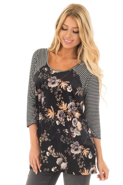 Black Velvet Floral Print Raglan Tee with Striped Sleeves front close up
