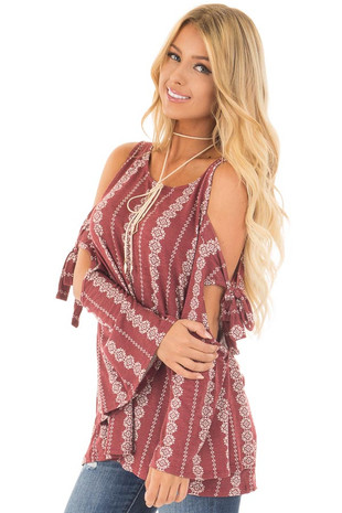 Marsala Printed Top with Tie Detail on Flare Sleeves front side close up