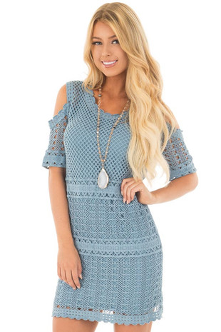 Slate Blue Cold Shoulder Lined Crochet Tunic Dress front close up