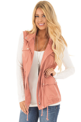 Salmon Lightweight Vest with Drawstring Waist front close up
