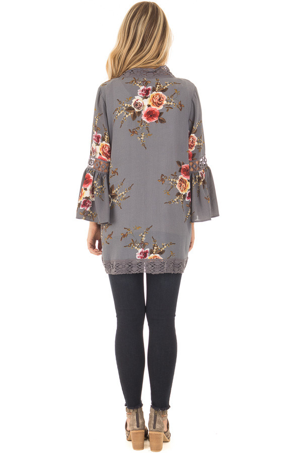 Steel Grey Floral Print Kimono with Lace Details and Bell Sleeves back full body