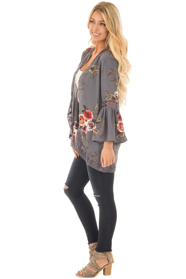 Steel Grey Floral Print Kimono with Lace Details and Bell Sleeves side full body