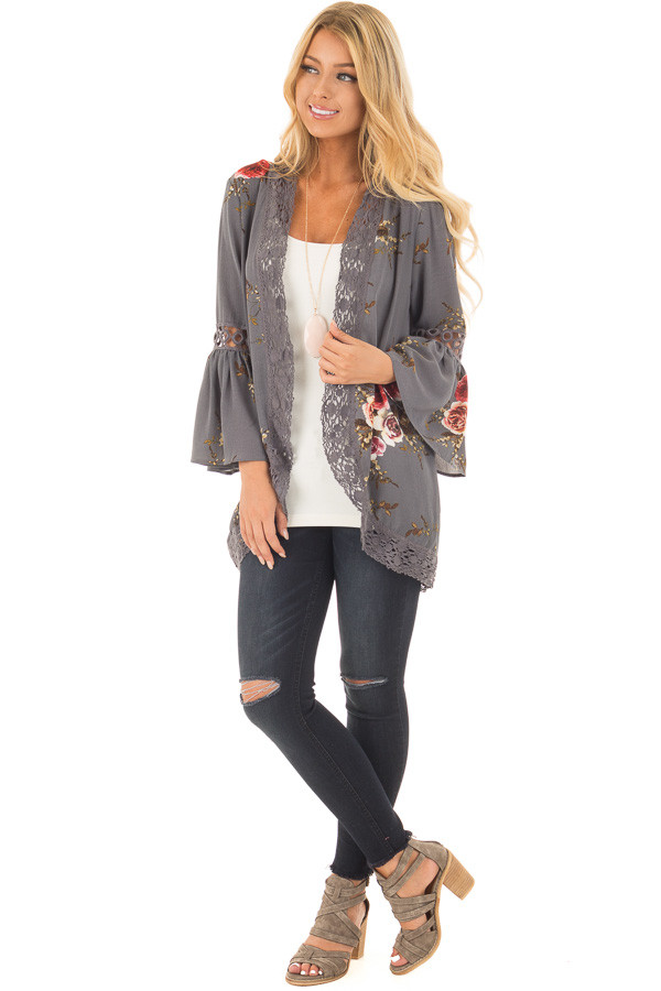 Steel Grey Floral Print Kimono with Lace Details and Bell Sleeves front full body
