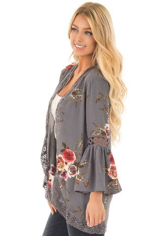 Steel Grey Floral Print Kimono with Lace Details and Bell Sleeves side close up