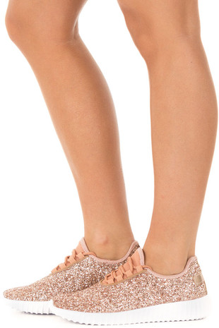 Rose Gold Glitter Lace Up Sneakers with Gold Details side view