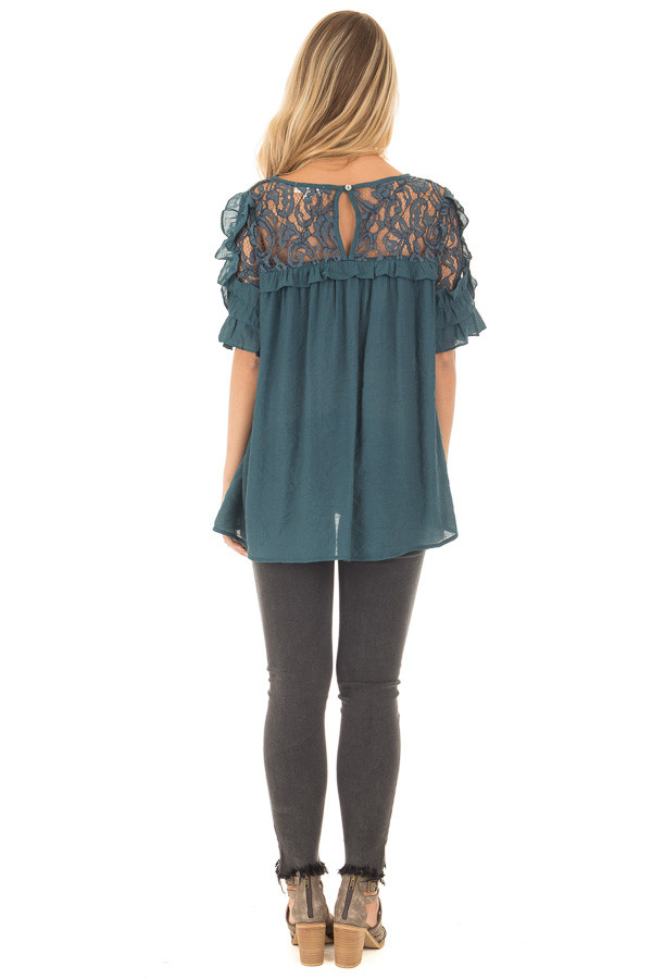 Deep Teal Blouse with Sheer Lace Yoke and Ruffle Sleeves back full body