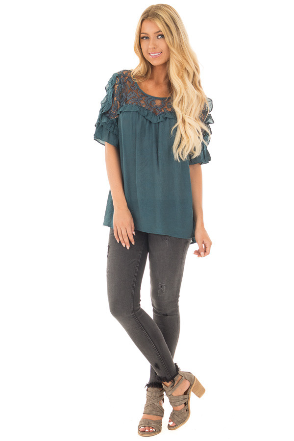 Deep Teal Blouse with Sheer Lace Yoke and Ruffle Sleeves front full body