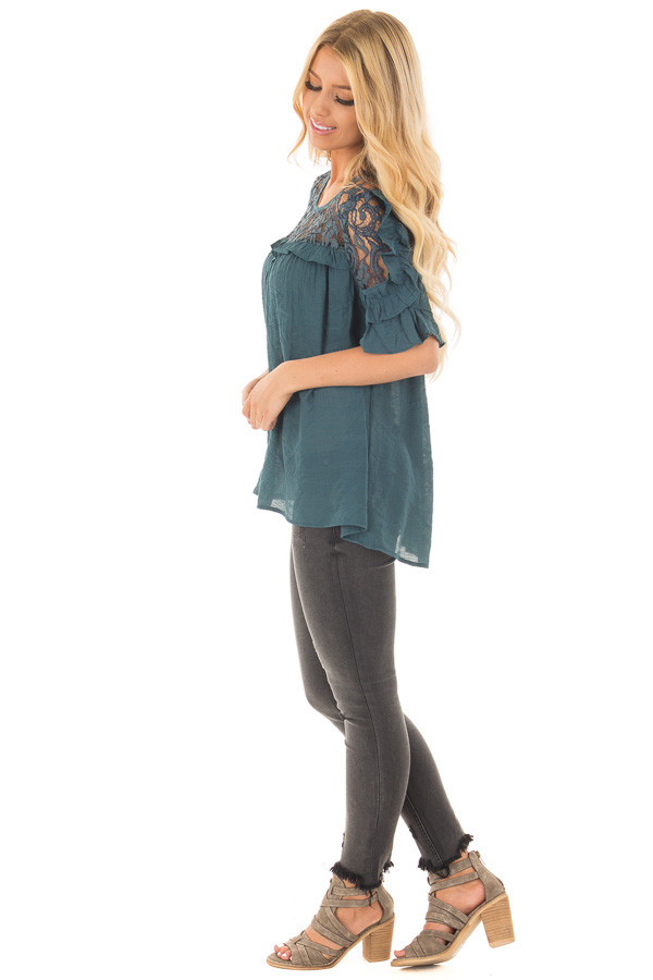 Deep Teal Blouse with Sheer Lace Yoke and Ruffle Sleeves side full body