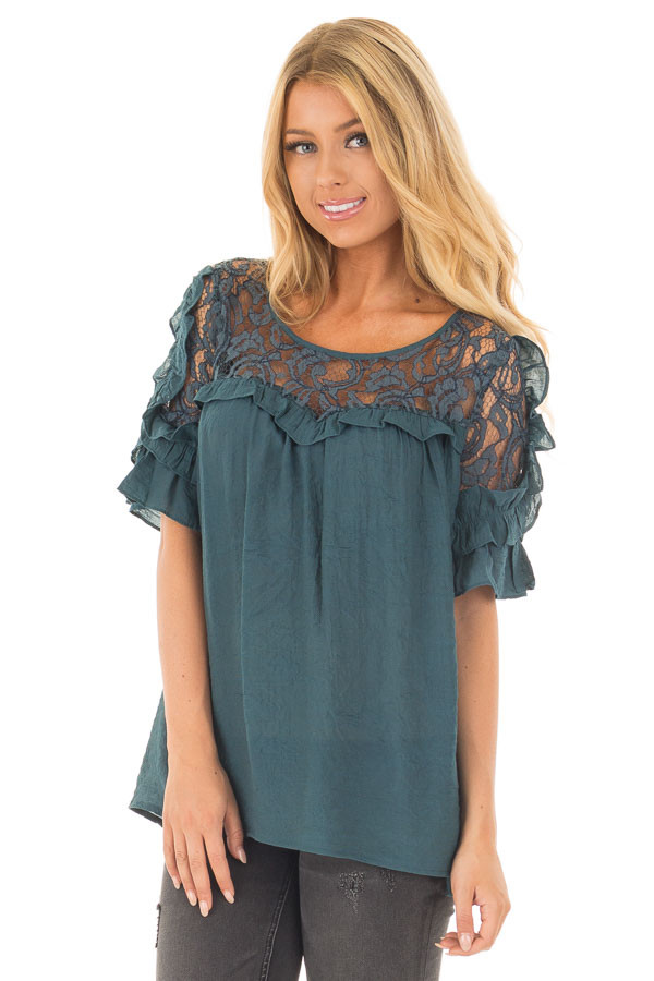Deep Teal Blouse with Sheer Lace Yoke and Ruffle Sleeves front close up