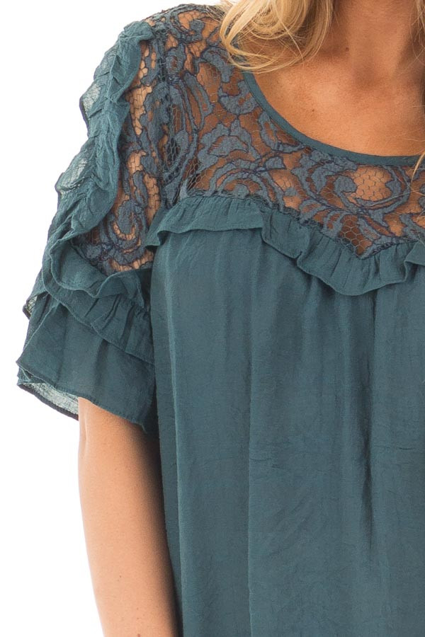 Deep Teal Blouse with Sheer Lace Yoke and Ruffle Sleeves detail