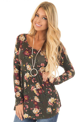 Dark Olive Floral Print Long Sleeve Baby Doll Top front close up