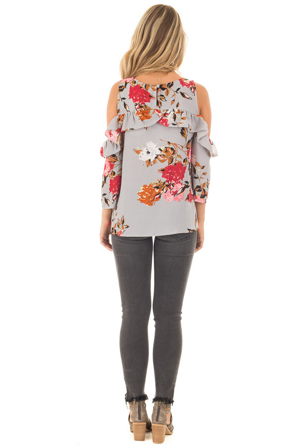 Cool Grey Floral Cold Shoulder Top with Ruffle Detail back full body