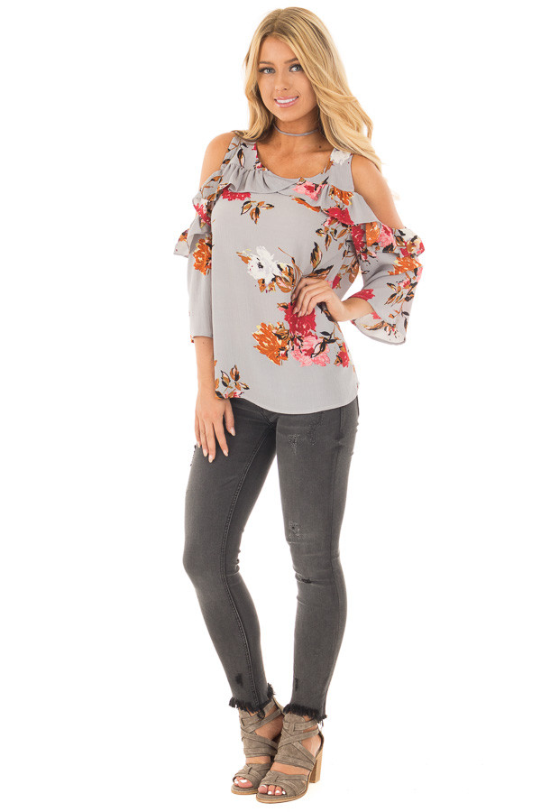 Cool Grey Floral Cold Shoulder Top with Ruffle Detail front full body