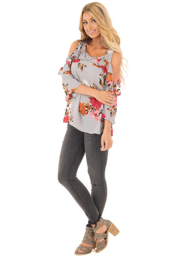 Cool Grey Floral Cold Shoulder Top with Ruffle Detail front side full body