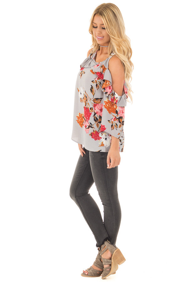 Cool Grey Floral Cold Shoulder Top with Ruffle Detail side full body