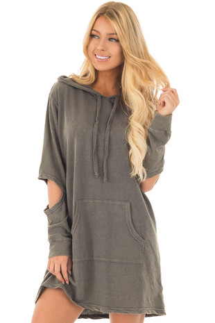 Olive Knit Hoodie Dress with Elbow Slit Detail front close up