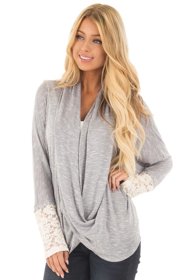 Heather Grey Draped Crossover Knit Top with Lace Cuff Detail front close up