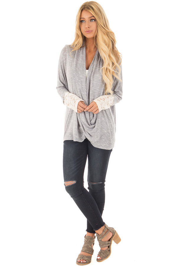 Heather Grey Draped Crossover Knit Top with Lace Cuff Detail front full body