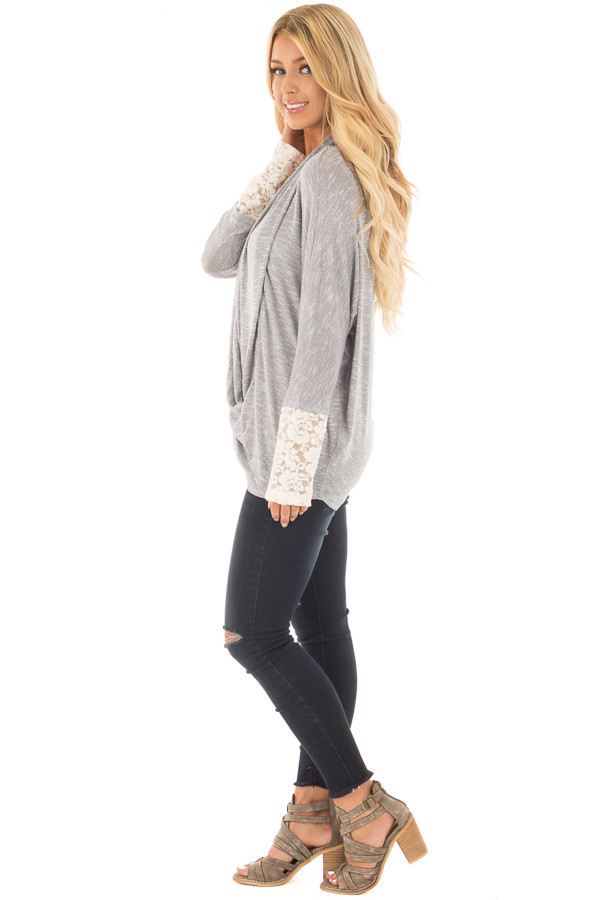 Heather Grey Draped Crossover Knit Top with Lace Cuff Detail side full body