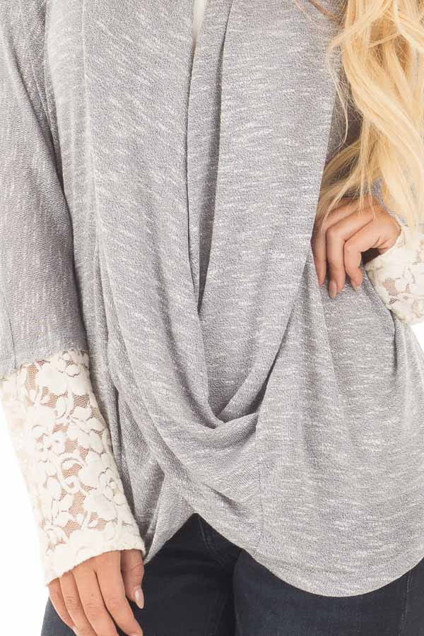 Heather Grey Draped Crossover Knit Top with Lace Cuff Detail detail