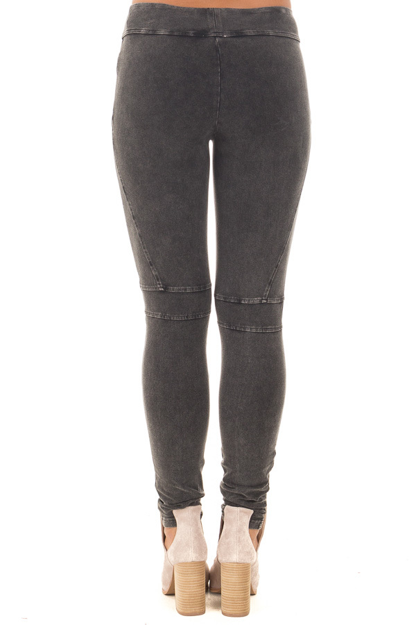 Black Mineral Wash Leggings with Moto Stitching Details back view