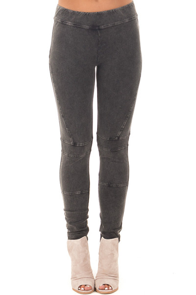 Black Mineral Wash Leggings with Moto Stitching Details front view