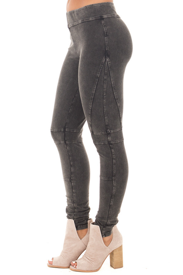 Black Mineral Wash Leggings with Moto Stitching Details side right leg
