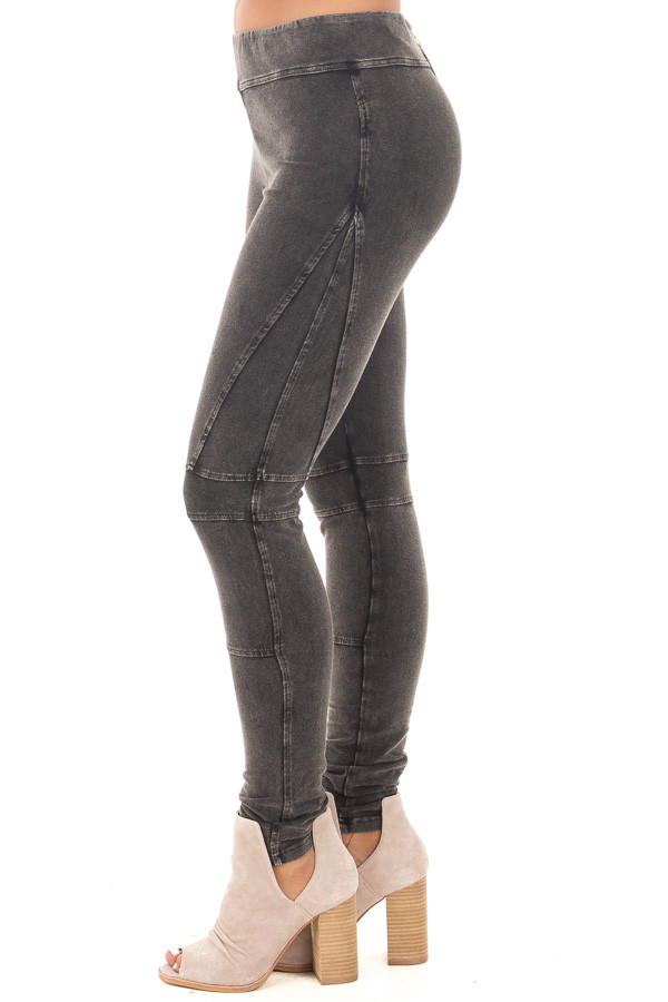 Black Mineral Wash Leggings with Moto Stitching Details side left leg