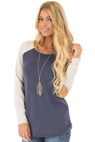 Navy and Cream Raglan Long Sleeve Top with Faux Suede Detail front close up