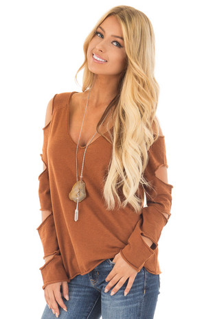 Rust Deep V Neck Sweater with Ladder Cut Long Sleeves front close up