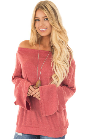 Brick Red Off the Shoulder Top with Long Flare Sleeves front close up