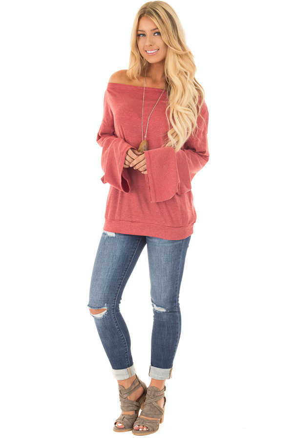 Brick Red Off the Shoulder Top with Long Flare Sleeves front full body