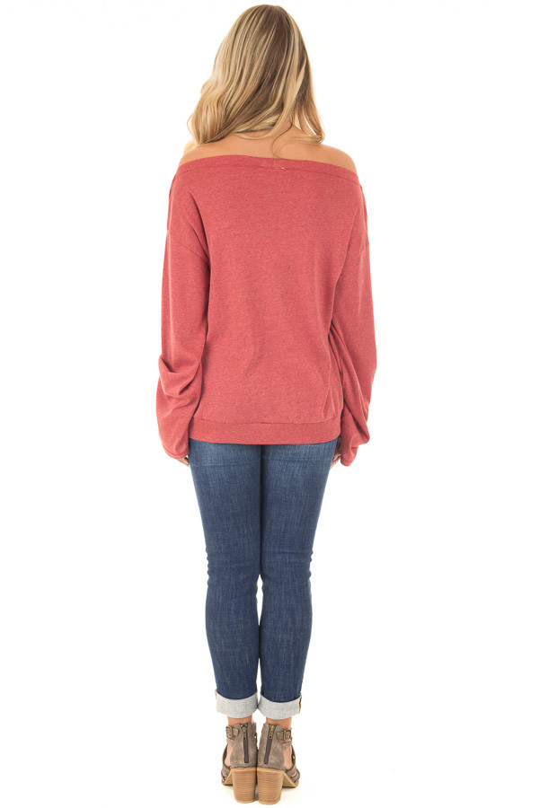 Brick Red Off the Shoulder Top with Long Flare Sleeves back full body