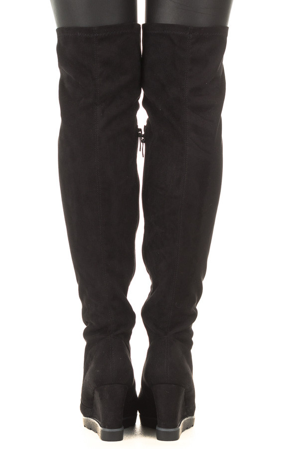 Black Faux Suede Over the Knee Wedged Boot back view