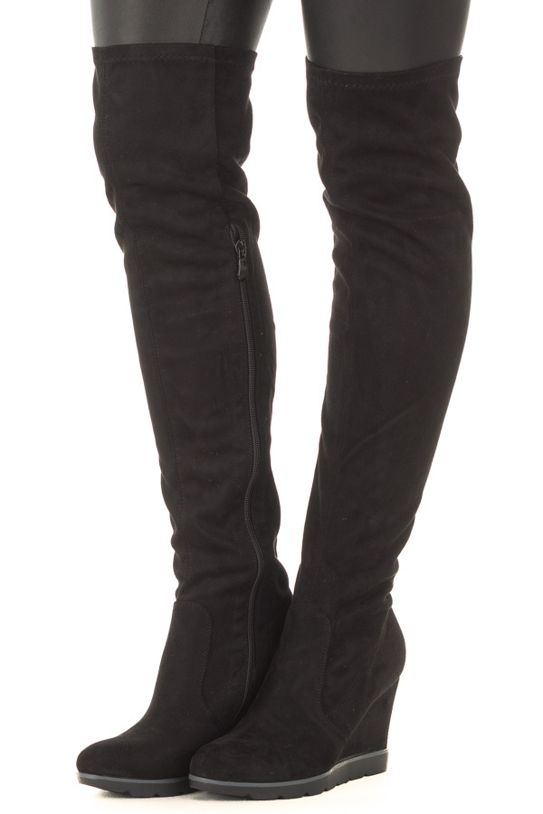 Black Faux Suede Over the Knee Wedged Boot front side view