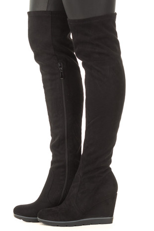 Black Faux Suede Over the Knee Wedged Boot side view