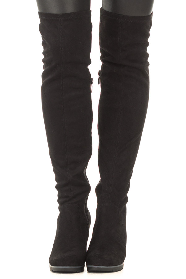 Black Faux Suede Over the Knee Wedged Boot front view